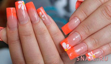 ногти наращенные оранжевые