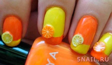 маникюр с лимонами апельсинами