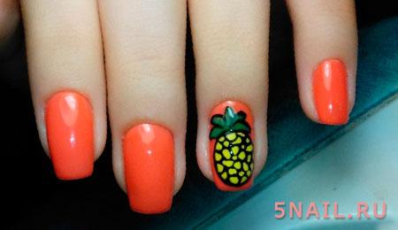 рисунок ананаса на ногтях