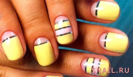 Идеи маникюра с лентами для ногтей