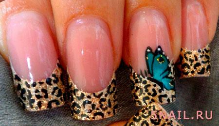 френч леопардовый с бабочкой