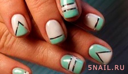 блестящие полоски на ногтях