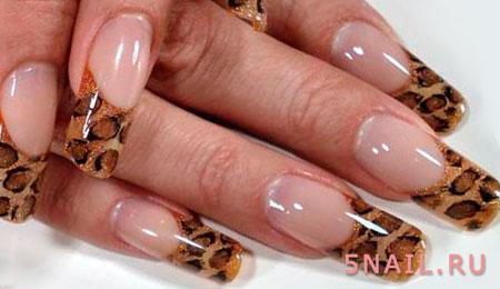 леопардовые ногти френч