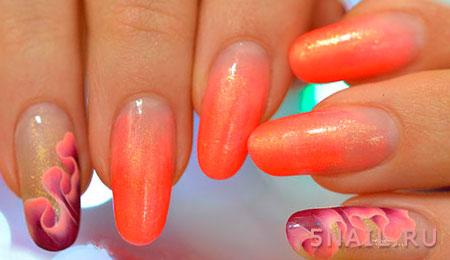 яркие наращенные ногти