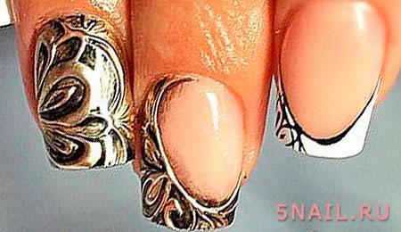 металлизированный эффект на ногтях