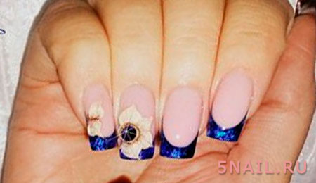 синий френч с жидким камнем