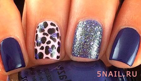 маникюр с блестками и пятнами леопарда