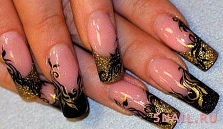 наращенные ногти с фольгой