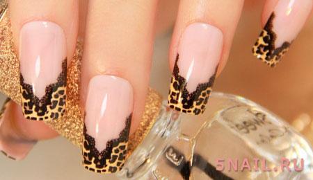 леопардовая линия улыбки на ногтях