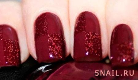 темно красные ногти с блестками