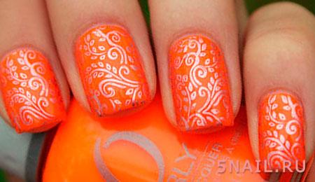 короткие ногти оранжевые