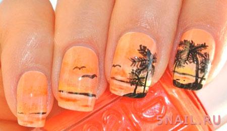 маникюр с пальмами и морем