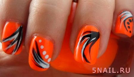 оранжево черные ногти