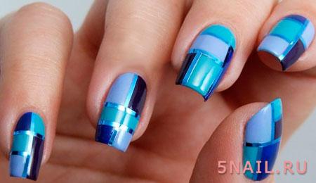 геометрия на ногтях и ленты