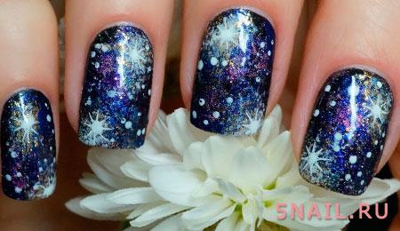 эффект космоса на ногтях